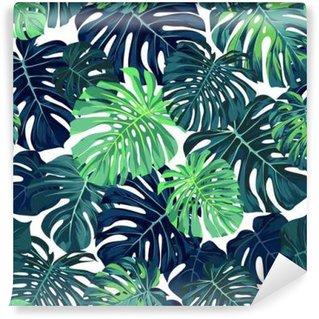 Fotomural Estándar Vector patrón de color verde con la palma de Monstera deja en el fondo oscuro. verano sin fisuras diseño de la tela tropical.