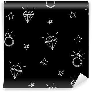 Fotomural Estándar Vector patrón transparente con anillos de boda, estrellas y joyas. elementos antiguos del tatuaje de la escuela. estilo inconformista