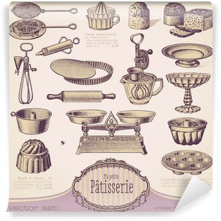 Fotomural Estándar Vector set: Patisserie - Vintage elementos de diseño para hornear
