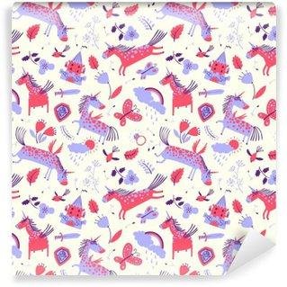Fotomural Estándar Vector sin fisuras patrón floral linda con unicornios mágicos
