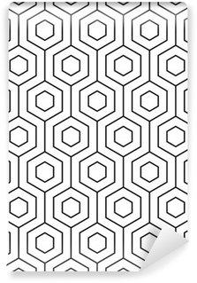 Fotomural Estándar Vector sin patrón. Textura con estilo moderno. Monocromo patrón geométrico. La parrilla con baldosas hexagonales.