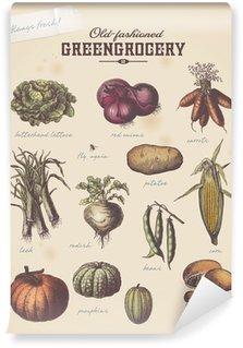 Fotomural Estándar Verdulero vintage cartel con diferentes verduras (2)