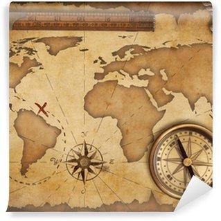 Fotomural Estándar Viejo mapa del tesoro, regla, cuerda y compás de latón antiguo bodegón