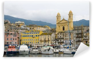 Fotomural Estándar Viejo puerto de Bastia Córcega Francia con San Juan de la iglesia Bautista