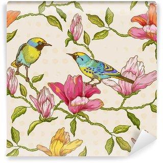 Fotomural Estándar Vintage Fondo inconsútil - flores y pájaros