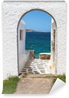 Fotomural Estándar Vista panorámica de la isla de Mykonos, Grecia