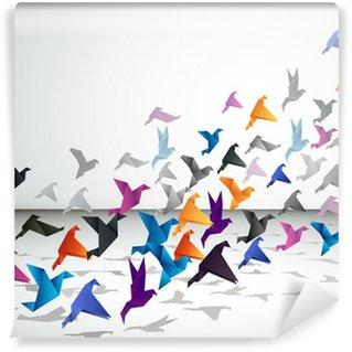 Fotomural Estándar Vuelo interior, Pájaros de Origami empezar a volar en el espacio cerrado.
