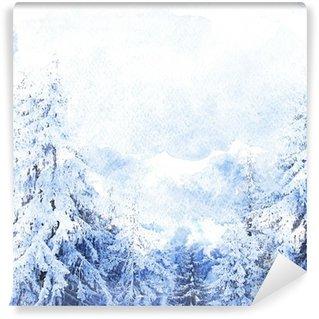 Fotomural Estándar Watercolor winter landscape