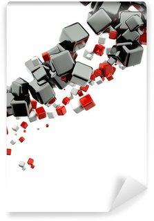 Vinyl-Fototapete 3d abstrakt Hintergrund mit glänzenden roten und schwarzen Würfel
