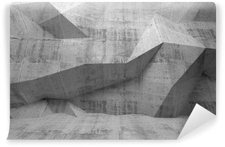 Vinyl-Fototapete Abstrakt dunklen Beton 3d Interieur mit polygonalen Muster auf die