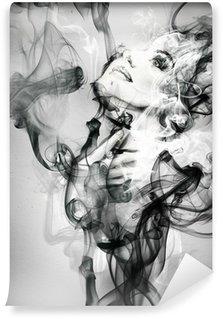 Vinyl Fototapete Abstrakte Frau Porträt. Aquarell Illustration