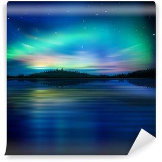 Vinyl-Fototapete Abstrakten Hintergrund mit Waldsee und Sonnenaufgang