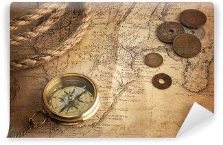 Vinyl Fototapete Alten Kompass, alte Münzen und Seil auf Vintage-Karte