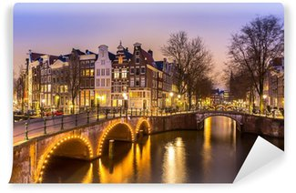 Vinyl-Fototapete Amsterdamer Grachten am Abend