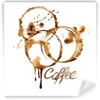 Vinyl-Fototapete Aquarell-Emblem mit Kaffeeflecken