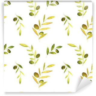 Vinyl-Fototapete Aquarell nahtlose Muster mit Oliven, Blättern und Zweigen