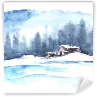 Vinyl-Fototapete Aquarell Winter-Muster. Landlandschaft. Das Bild zeigt ein Haus, Fichte, Kiefer, Wald, Schnee und Verwehungen.