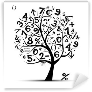 Vinyl Fototapete Art Baum mit mathematischen Symbolen für Ihr Design