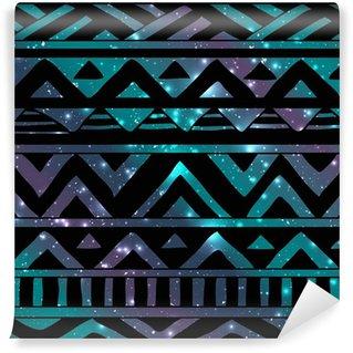 Vinyl-Fototapete Aztec Tribal nahtlose Muster auf Cosmic Background