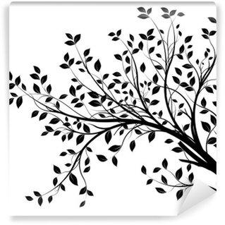 Vinyl-Fototapete Baum Zweige Silhouette isoliert auf weißem Hintergrund