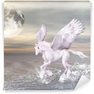 Vinyl-Fototapete Bellissimo cavallo alato che ent nel mare