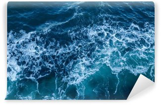 Vinyl-Fototapete Blaues Meer Textur mit Wellen und Schaum