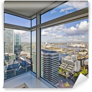 Vinyl-Fototapete Blick durch bodentiefe Fenster