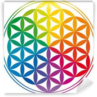 Vinyl-Fototapete Blume des Lebens-und Regenbogen-Farben - Blume des Lebens