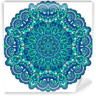 Vinyl-Fototapete Blumen-Mandala. Abstraktes Element für Design