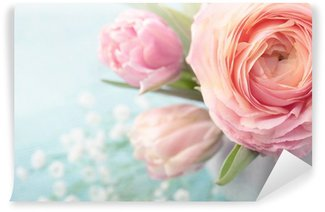 Vinyl-Fototapete Blumen rosa