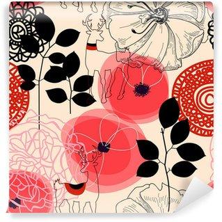 Vinyl-Fototapete Blumen und Hirsche seamless pattern