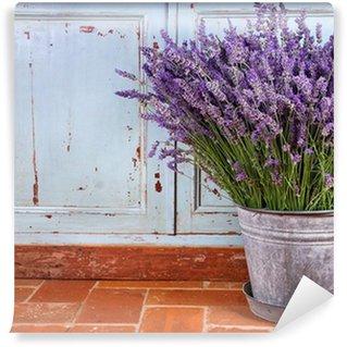 Vinyl-Fototapete Bouquet aus Lavendel in einem rustikalen Rahmen