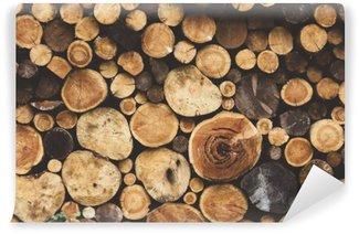 Vinyl-Fototapete Brennholz Holz Textur