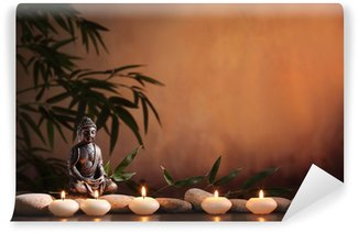 Vinyl-Fototapete Buddha mit brennender Kerze und Bambus