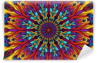 Vinyl-Fototapete Bunte glänzend 3D-Fraktal Mandala