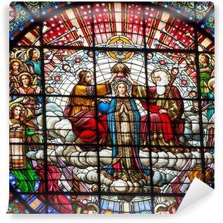 Vinyl-Fototapete Buntglas Jesus Mary Rose Fenster Kloster Montserrat