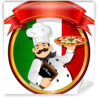 Vinyl Fototapete Chef pizza vector