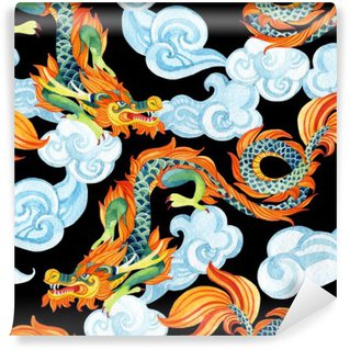 Vinyl-Fototapete Chinese Dragon nahtlose Muster. Asian Dragon Illustration