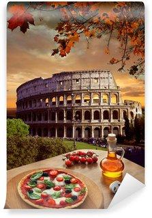 Vinyl Fototapete Colosseum mit italienische Pizza in Rom, Italien