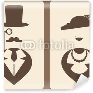 Vinyl-Fototapete Dame und Herr vintage Symbole