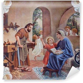 Vinyl-Fototapete Das Fresko der Heiligen Familie von Dorfkirche