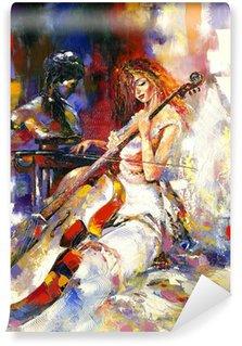 Vinyl-Fototapete Das Mädchen und ein Violoncello