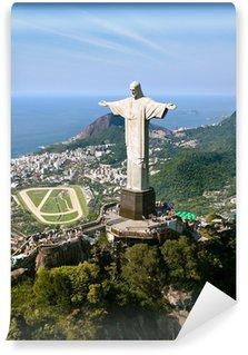 Vinyl-Fototapete Dramatische Luftaufnahme von Rio De Janeiro und die Christusstatue