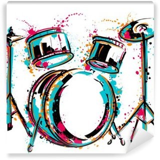 Vinyl-Fototapete Drum-Kit mit Spritzern in Aquarell-Stil. Bunte Hand gezeichnet Vektor-Illustration