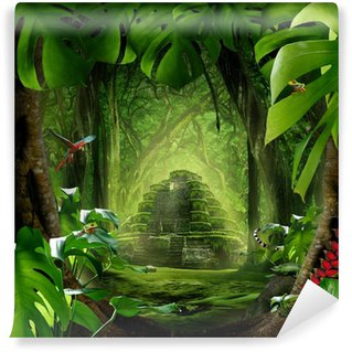 Vinyl-Fototapete Dschungel - Pyramide