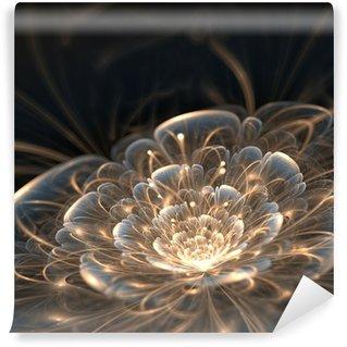 Vinyl-Fototapete Dunkelblau fraktalen Blume mit goldenen Strahlen