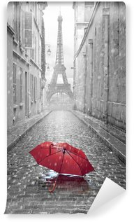 Vinyl-Fototapete Eiffelturm Blick von der Straße von Paris