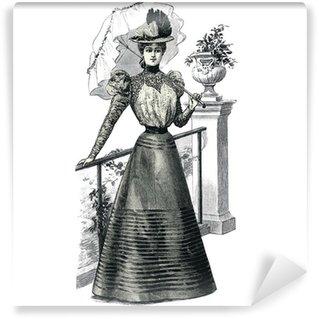 Vinyl-Fototapete Elegante Frau mit Sonnenschirm