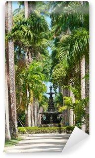 Vinyl-Fototapete Englisch Brunnen, Palmenallee. Botanischer Garten. Rio de Janeiro