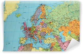 Vinyl Fototapete Europa-Karte mit Reise Pins